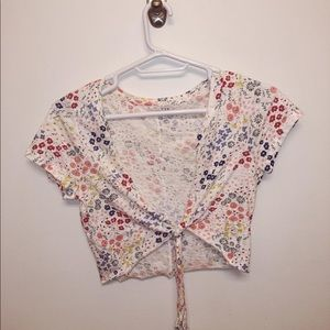 White floral patterned tie top